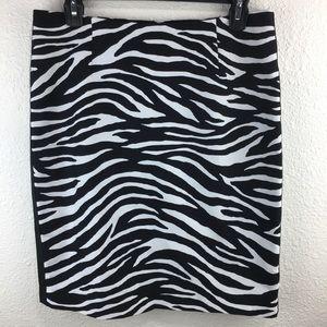 White House Black Market Zebra Skirt 8 B586